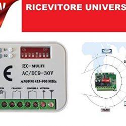 RICEVITORE UNIVERSALE RADIO RICEVENTE 2 canali TELECOMANDI Tante altre marche frequenza 433 o 868 Mhz 12-30V ac dc codice fisso rolling code AUTOMAZIONE RXMULTI MULTI RX 12-30V 2