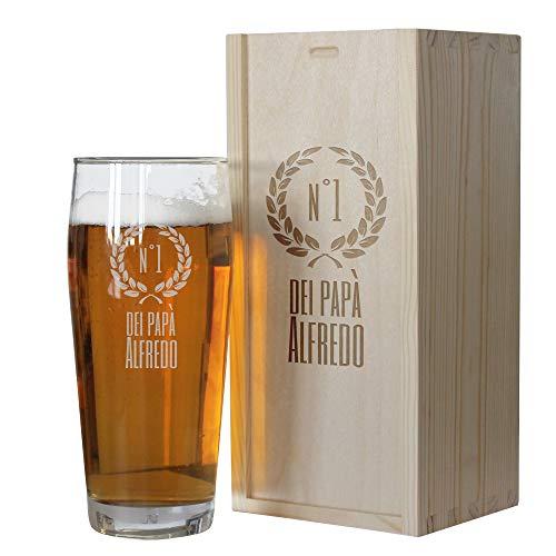 Angolo del Regalo Bicchiere da Birra di papà Personalizzato con Cassetta – Numero Uno