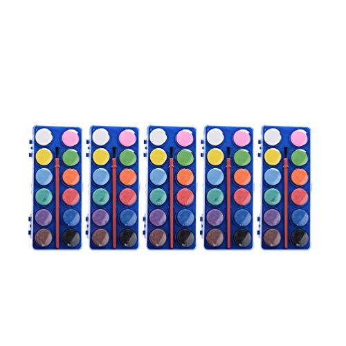 SUPVOX 5 pezzi di pittura ad acquerello set 12 colori lavabili tinta unita pittura ad acquerello tasca da viaggio set di acquerelli per bambini adulti principianti