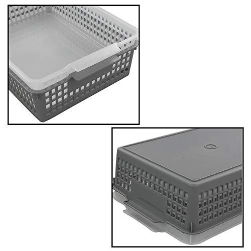 Dynko A4 Cestini Plastica Rettangolari Set di 6, Trasparente e Grigio, Cestino in Plastica 4