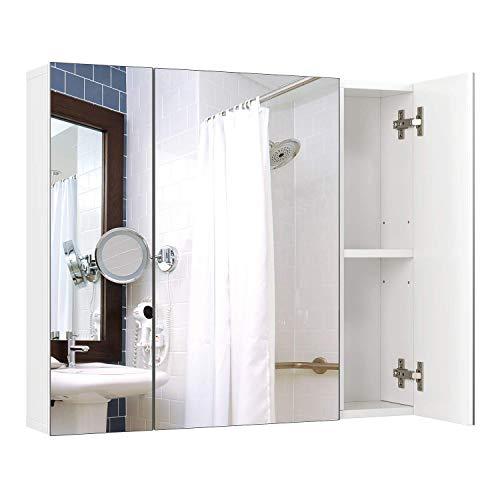 Homfa Armadio a Specchio a Tre Ante Armadietto a Specchio da Bagno con Ripiani Interiori 70 × 15 × 60,3 cm (Bianco) 2