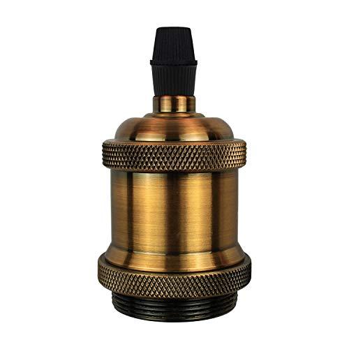 DiCUNO E27 Vintage Portalampada, Edison retro lampada a sospensione, Adattatore in ceramica solida, 6 Pezzi di ottone vintage socket 3