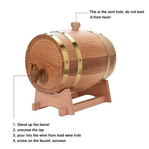 GOTOTO 10L Botte Vino Legno Rovere, Botte di Vino Dispenser, Botte da Vino in Legno, Wine Barrel per la conservazione di Vini pregiati, Brandy, Whisky e Tequila 10