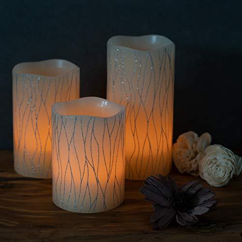 Navaris Set 3x Candele in Cera a LED – con Telecomando Timer e Dimmer – Candela Pilastro a Batteria – Decorazione Casa – Bianco Caldo – Div. Design 3