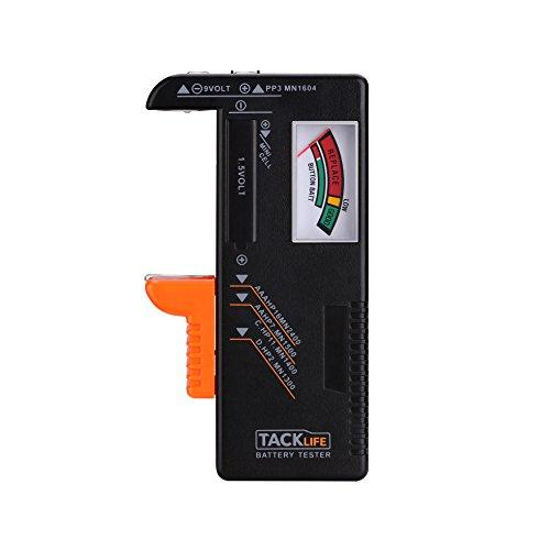 Tester di Batterie, Tacklife MBT01, Tester per Batterie Classico AAA, AA, C, D, 1.5V, 9V e Altri Tipi di Batterie, Ideale per Uso Domestico