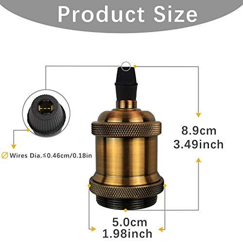 DiCUNO E27 Vintage Portalampada, Edison retro lampada a sospensione, Adattatore in ceramica solida, 6 Pezzi di ottone vintage socket 4