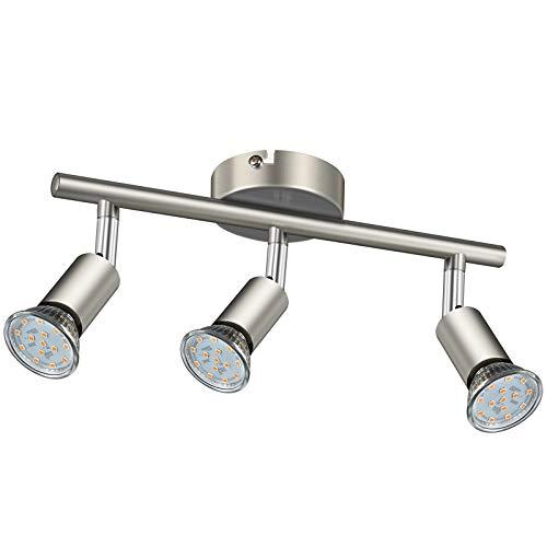 Faretti LED da soffitto orientabili I plafoniera moderna da soffitto per l'illuminazione da interno I luce calda I corpo metallo, color nickel opaco I include 3 lampadine LED GU10 da 3.5W, 380Lm,230V 4