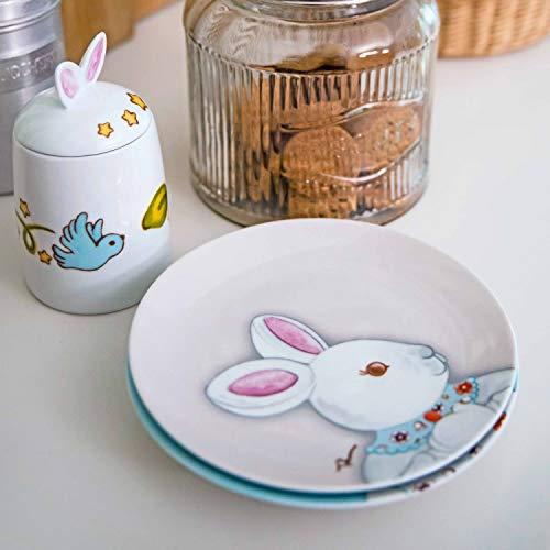 THUN – Piattino Grigio – Linea Coniglio Magico Piccolo – Porcellana – Ø 20,5 cm 4