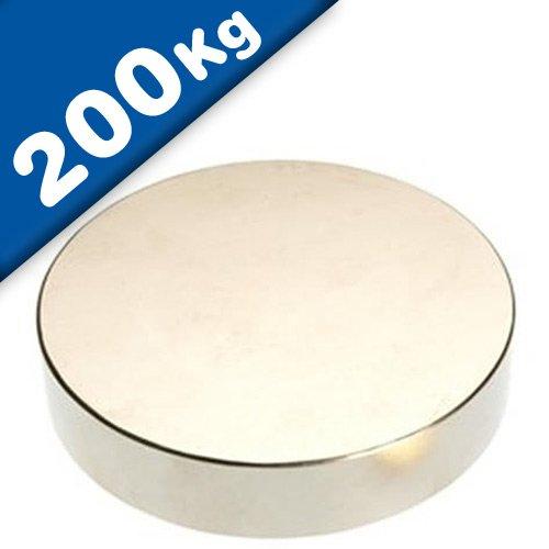 Disco magnetico Ø 70 x 10mm Neodimio N45 (NdFeB) Nichel – Forza di attrazione 200 kg – Magneti permanenti rotondi circolari al Neodimio (Terre Rare) Calamite tonde potenti per l'industria e la casa