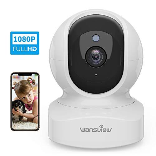 Telecamera di Sorveglianza WiFi, Wansview FHD 1080P Videocamera IP WiFi Interno con Audio Bidirezionale e Compatibile con Alexa, Notifiche in Tempo Reale Q5 Bianco
