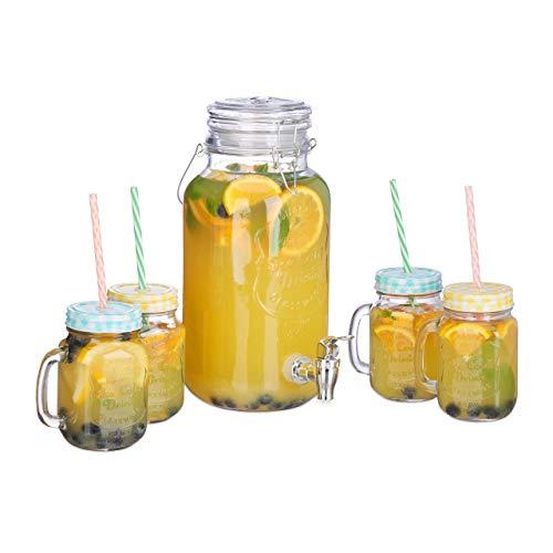 Relaxdays Dispenser per Bevande in Set con 4 Bicchieri, alla Spina, con Rubinetto, Vintage, con Cannucce, 4 L