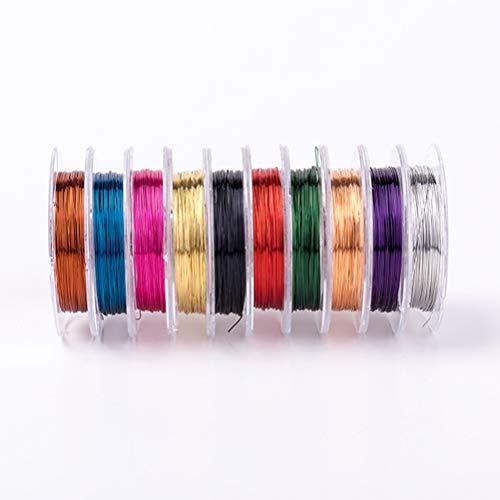 SUPVOX 0,38 millimetri gioielli che bordano il filo di rame per i mestieri che bordano monili che fanno, ogni rotolo di colore uno 10 rotoli 6