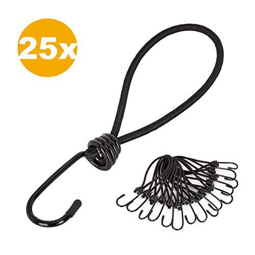 PRETEX 25 ganci elastici professionali per teloni, padiglioni, tende, reti; corda elastica, supporto elastico, elastico, elastico per tenda, elastico flessibile, nero