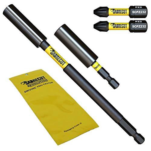SabreCut, Set di 2 porta punte magnetici professionali SCRK1 da 60 mm e 152 mm e 2 punte PZ2 da 32 mm per cacciavite a percussione Dewalt, Milwaukee, Makita, Bosch e altri