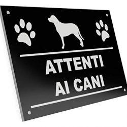 OriginDesigned Attenti Ai Cani Cartello Inciso 145 mm x 95 mm
