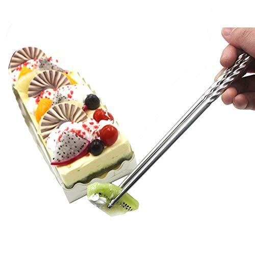 Bacchette, Chantwon 5 paia 10 pezzi Bacchette in Acciaio inox Lavabili per Piatti di Sushi o Riso, Riutilizzabili 7