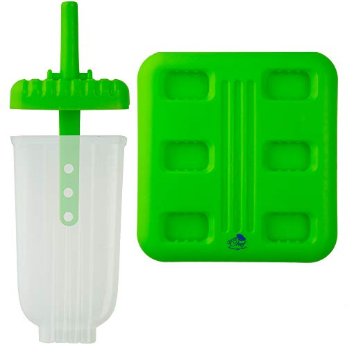Chuzy Chef, 6stampi per ghiaccioli,set con vassoio e salva goccia, senza BPA, verde. 4