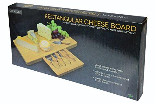 Tagliere per formaggi grande, in bambù, con speciale scomparto integrato per posate 8