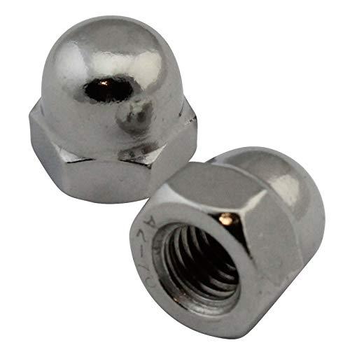 D2D | Confezione: 10 pezzi – forma esagonale con dadi esagonali – Dimensioni: M16 – DIN 1587 – acciaio inox A2 V2A | noci cosmetici