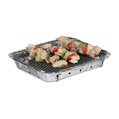 Relaxdays – Barbecue USA e Getta, Pronto all'Uso, con 2 Piedi, Carbone da 500 g Incluso, Instant BBQ, Lunga Durata di combustione 2, Argento