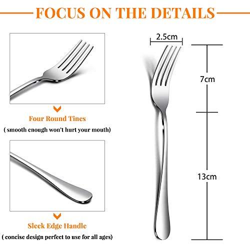 TeamFar – Set di 12 forchette da tavola in acciaio INOX, design elegante, set di posate da tavola da 20 cm, finitura a specchio e lavabile in lavastoviglie, 12 pezzi. 3
