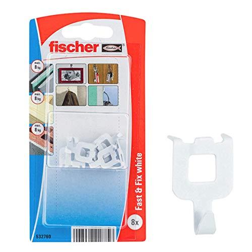 Fischer Fast&Fix Fissa, Gancio a Muro per Appendere Quadri, Installazione Rapida, Non servono cacciavite e Trapano, 8 pz per Confezione, 532760, Bianco