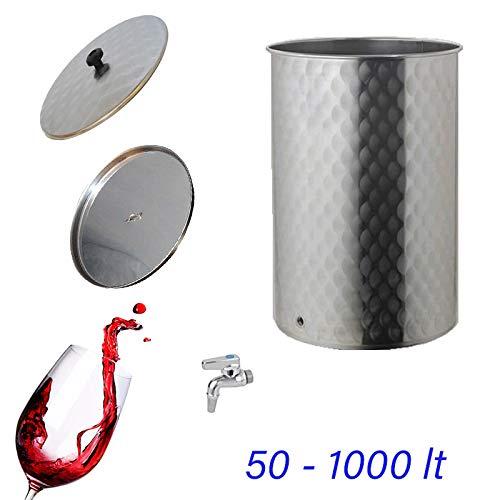 Quattro Effe Serbatoio contenitore inox per vino con galleggiante olio da 50 a 1000 lt
