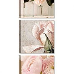 Quadri L&C ITALIA Quadri Shabby Chic Moderni Soggiorno Camera da Letto 25×25 Stampa su Tela Fiori Quadretti Cucina Bagno Ufficio, Tris Rose Shabby Chic 2