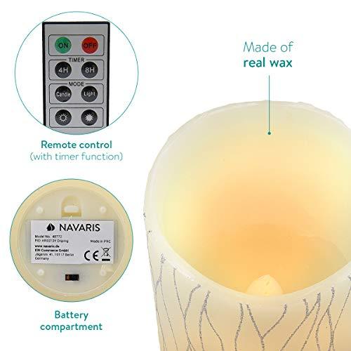 Navaris Set 3x Candele in Cera a LED – con Telecomando Timer e Dimmer – Candela Pilastro a Batteria – Decorazione Casa – Bianco Caldo – Div. Design 5