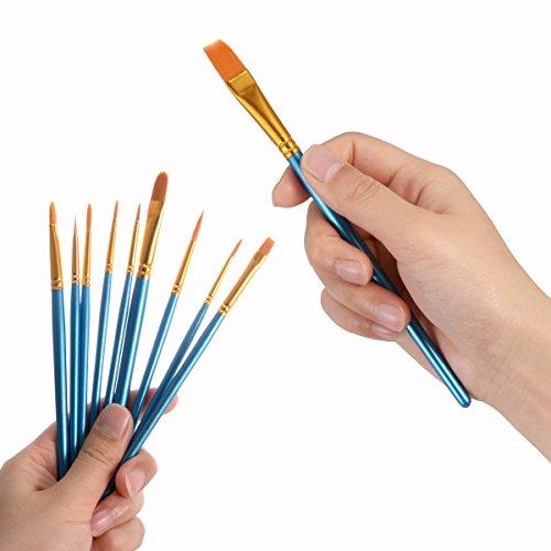 10Pennelli, 2tavolozza, Premium Nylon pennelli per acquerello, acrilico e olio ecc perfetto set di pennelli per principianti, per bambini, ARTISTA e amante della Pittura Pittura Pennello 6