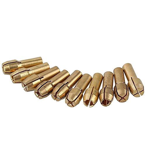 Paor 10pz 4.3mm 0.5–3.2mm in ottone Collet mandrino per Dremel Tools Electric grinding drill raccogliere Chuck Holder 0.5–3.2mm