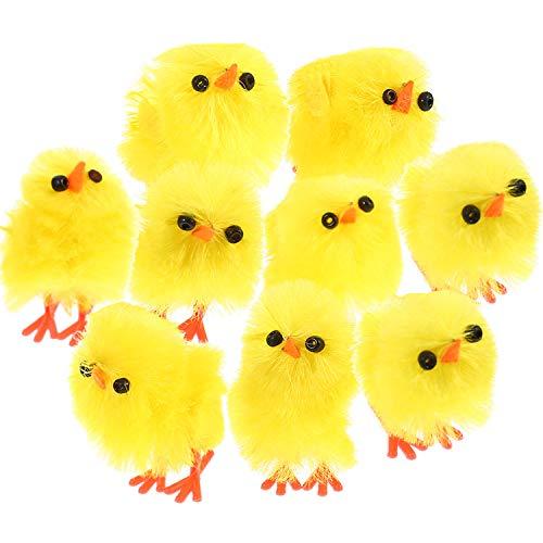 TecUnite 60 Pezzi Pollo di Pasqua Piccolo Carino Pulcino Giallo di Pasqua Uovo Cofano Festa Favorire Decorazione, 1.2 Pollici
