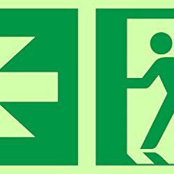 Anro segnali di uscita di emergenza | Freccia sinistra | Si illuminano al buio e Autoadesivo | Segno di sicurezza e avvertenza PVC | 150 x 300 mm