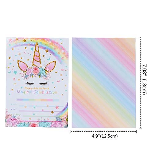 AMZTM Inviti con Buste per la Festa di Compleanno Bambini Baby Shower Tema Unicorno Arcobaleno Decorazioni Accessori Pet Festa delle Ragazze Set di 20 6
