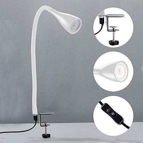 Lampada LED da tavolo con morsetto dimmerabile, include lampadina 5W GU10, luce calda 3000K, lampada da scrivania o comodino bianca 4