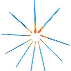 YXQSED. Pennelli * Set da 10 pennelli * Astuccio arrotolabile GRATIS – Pennelli per olio, acrilico, acquerello -maniche lunghe e lussuose – Forma e tipo di pelo perfetti – qualità superiore. Pezzi di Pennelli da Artista, Fatti a mano, Di qualit&agr