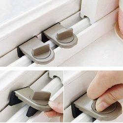 Rony Rass Lucchetto anti-frizione marrone per bambini Serratura antifurto per porte scorrevoli e finestrini 1pcs