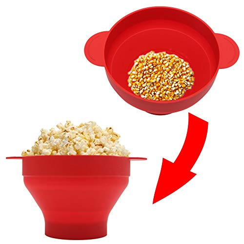No brand Tuneway Ciotola Pieghevole nel Silicone per Popcorn Un microonde con Coperchio e Maniglie (Rosso) 7
