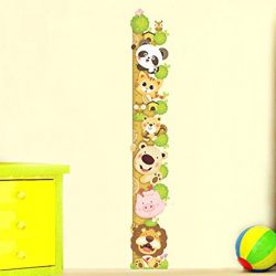 ufengke® Cartone Animato Gatto Leone Panda Adesivi Murali Con Metri (0-180 Cm), Camera dei Bambini Vivai Adesivi da Parete Removibili/Stickers Murali/Decorazione Murale 2