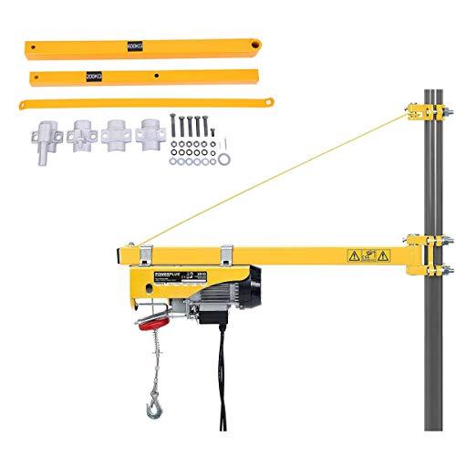 Yonntech braccio girevole estensione da 75 cm a 110 cm, argano paranco elettrico braccio di supporto girevole braccio di supporto, capacità di carico 600 kg