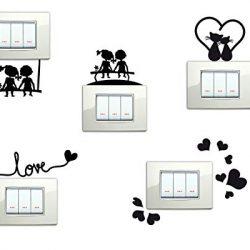 StickerDesign Adesivi per Interruttore 5 Pezzi Spine placche Bambini sulla PANCHINA Altalena Love Cuoricini Gattini E CUORICINO Wall Stickers Decorazione Cameretta Interni Casa Adesivo Murale 2