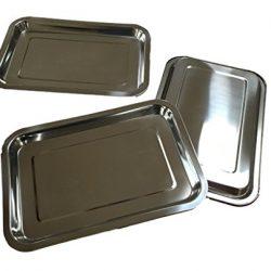 3X vassoio in acciaio inox rettangolare–32x 22x 2cm–impilabile–Piatto da portata/salsiccia piatto/piatto per formaggio/schlemmer piatto (3pezzi)