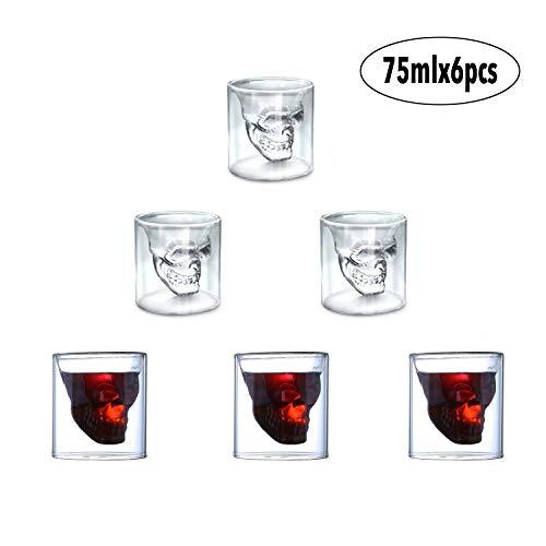 Auvstar Skull shot Glass, set di 6 70,9 gram (75ML) bicchiere di cristallo, a doppio strato trasparente teschio pirata Shotglasses drink cocktail tazza di birra, vino Cup