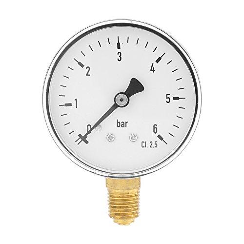 """Manometro idraulico aria 1/4""""NPT Manometro per montaggio laterale 0-6 bar per strumento acqua aria quadrante 2"""