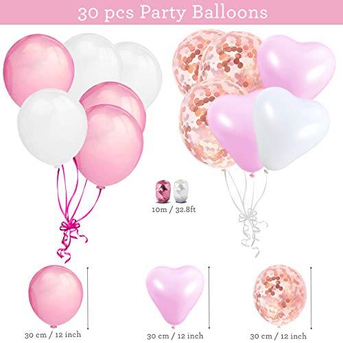 Decorazioni per Feste di Compleanno Bambina – 43 Pz – Include Striscione Happy Birthday, Pompon di Carta, Palloncini, Palloncini a Coriandoli, Decorazioni a Spirale – Set Rosa e Bianco per Bimba 6