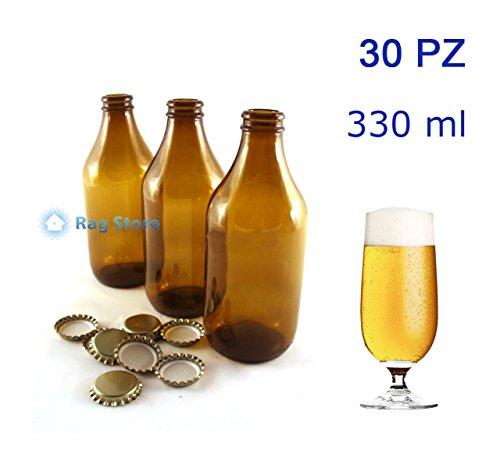 Avir 30 Bottiglie bottiglia vetro per birra bassa 330 ml – 33 cl con tappi corona Oro