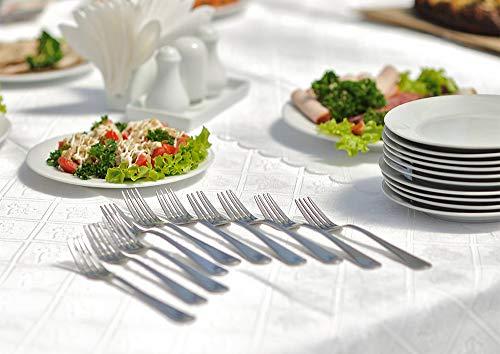 TeamFar – Set di 12 forchette da tavola in acciaio INOX, design elegante, set di posate da tavola da 20 cm, finitura a specchio e lavabile in lavastoviglie, 12 pezzi. 8