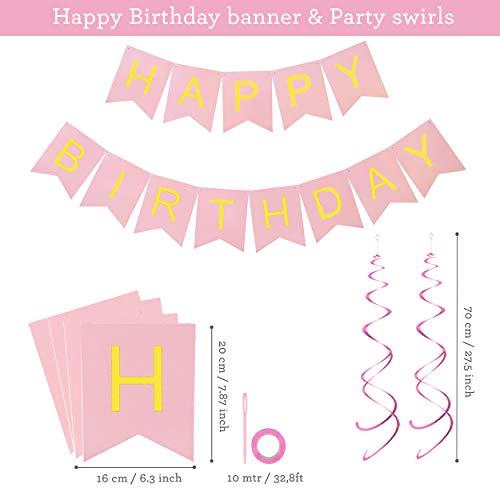 Decorazioni per Feste di Compleanno Bambina – 43 Pz – Include Striscione Happy Birthday, Pompon di Carta, Palloncini, Palloncini a Coriandoli, Decorazioni a Spirale – Set Rosa e Bianco per Bimba 5
