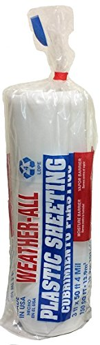 Trm fabbricazione 40350C Weatherall Visqueen Plastic Sheeting, Drop Cloth 3'Larghezza x lunghezza 50' x 4.0mil Thickness, trasparente