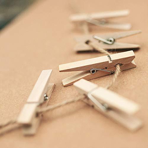 Pixnor Mollette legno con primavera, 100-Pack, 0,98-pollici di lunghezza 10